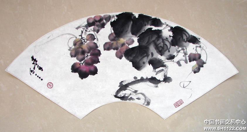 卫建章-葡萄扇面(售出)-淘宝-名人字画-中国书画服务